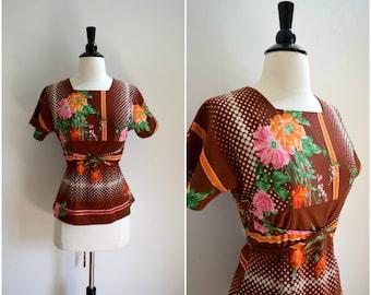 Vintage brown retro pattern blouse / floral boho top with crisscross tie belt waist
