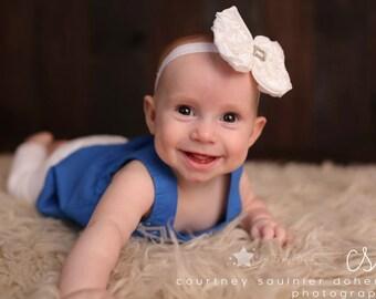 White rosette hair bow, rosette hair clip, rosette headband, baby headband, infant headband, newborn headband, baby rosette headband
