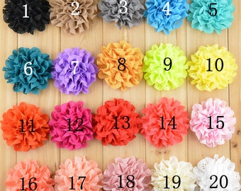 Set of 20 chiffon flower - Fabric Flowers- Flower You Choose Colors-Wholesale Fabric Flower- 20 colors to pick