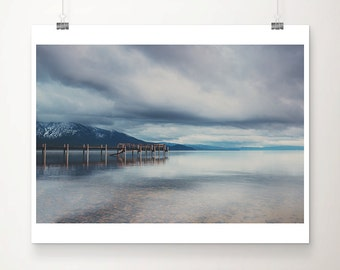 Lake Tahoe photograph mountains photograph California photograph pier photograph lake photograph water reflection print