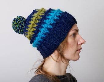 Knit Beanie Knit Hat Woman Fair Isle Hat Slouchy Knit Hat Hand Knit Pom Pom Hat Knit Beanie Mens Knit Beanie Chunky Knit Beanie Ski hat