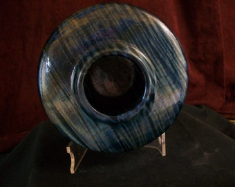 Blue Striped Hollow Form Bowl