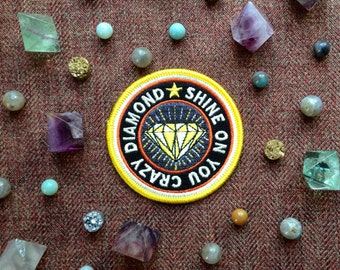 Shine on You Crazy Diamond Iron-On Patch, Scout, Scouting, Camp, Camping, National Parks, Pink Floyd, Crazy Diamond