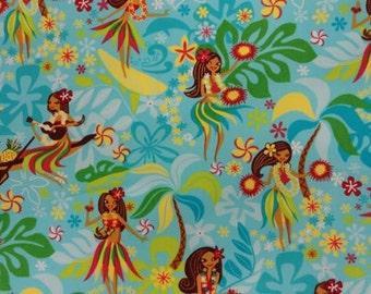 Kawaii Fabric - Trans Pacific - Yellow Fabric - Blue Fabric - Tropical  Fabric - Cotton Fabric - Hawaii Fabric - Hula Girl Fabric