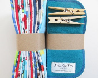 Reusable Cloth Wipes Pack of 64--Assorted Boys Mix--2 Ply Flannel--Regular--Made to Order