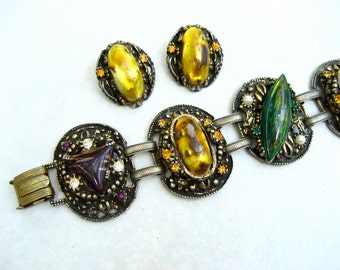 Vintage Selro Bracelet Earrings Set Venetian Glass Foil Lucite Cabochons Green Purple Wide Panels