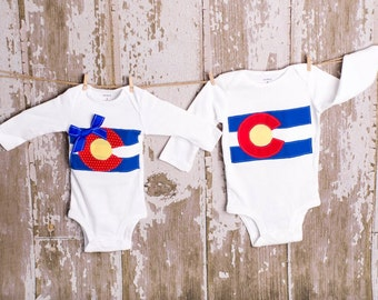Matching Brother/Sister Colorado sets Any Size newborn to 24 months Bodysuit or shirt size 2 4 6 8