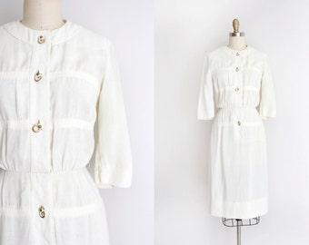 vintage 1950s dress // 50s white linen day dress