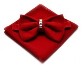 SALE 50% Red velvet bow tie and pocket square Groom Red Velvet Bowtie Men's bow tie Groomsman bow tie Groom Bowtie Red velvet Pocket Square
