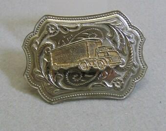 Vintage Western Semi Truck Aluminum Belt Buckle