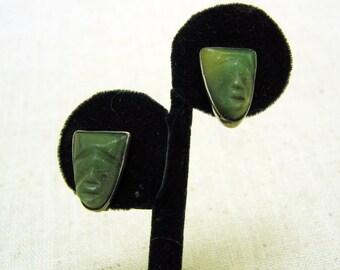1950 Vintage Mexican Sterling Silver Carved Jade Mask Screwback Earrings