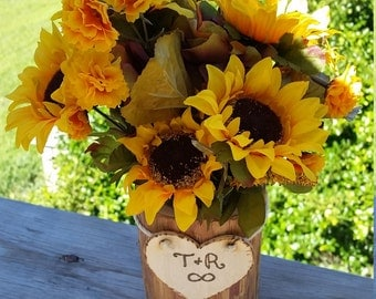 Gift For Girlfriend, Fiance, Wife, Log Vase With Flowers