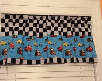 CARS 1,2,3 valances. Boys room valances. Blue and checkers window treatment. Made to order.