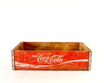 Vintage Coca-Cola Wooden Beverage Crate #4-76, Coke Crate in Red and White (c.1976) - Industrial Storage Box, Coca-Cola Collectible