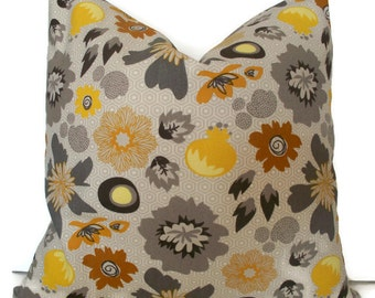 Yellow Floral Pillow Cover Yellow Gray Pillow Cover BOTH SIDES Riley Blake My Mind's Eye