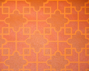 Retro Wallpaper by the yard 70s Vintage Wallpaper - 1970s Orange Geometric