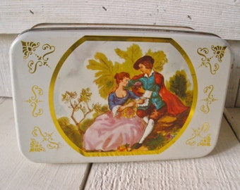 Vintage tin romantic courtside lady gentleman white gold rectangular storage 1960s
