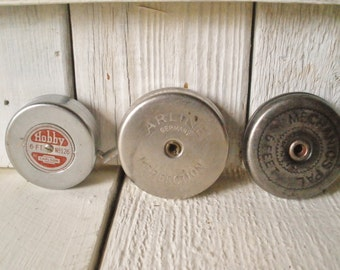 3 vintage measuring tapes metal retractable round case 6 feet silver tape