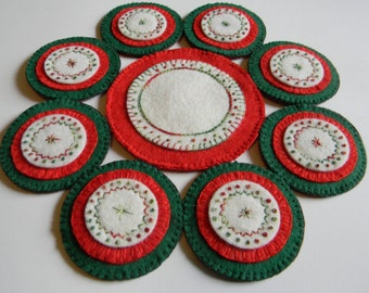 red, green and white table mat, candle mat, penny rug