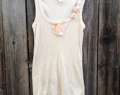 soft tan ecru ivory Shabby eco hand dyed anthropologie rustic fashion vintage lace original rustic  tank tee shirt