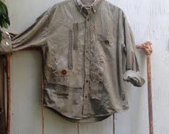 made for you custom workwear army khaki garden handdyed vintage buttons linen funky gypsy prairie chef artist potter ooak  farm rustic shirt