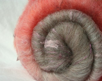Batt Merino Silk Noil Pulled Silk Mohair Locks Angelina 36g 1.26 oz OOAK Ready to Ship International - Nouveau Tweed
