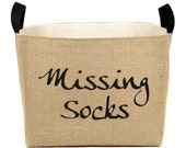Missing Socks Burlap Storage Bin - elegant rustic laundry room organization