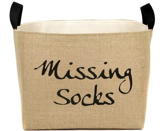Missing Socks Burlap Storage Bin - elegant rustic laundry room organization