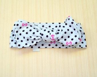Black and White Polka Dots and Pink Bows Hair Wrap Bow Headband