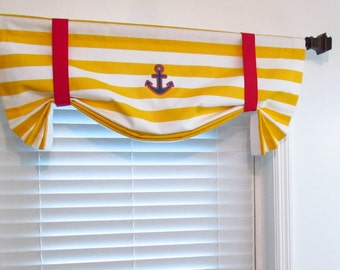 ANCHOR  Tie Up Valance Lined Curtain Horizontal Stripes Yellow White Red Blue Custom Sizing Available!