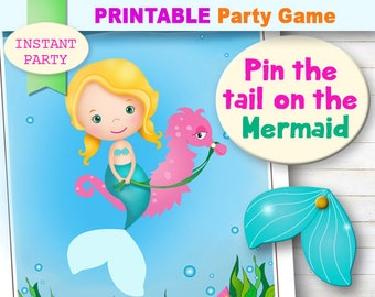 PIN THE TAIL on the Mermaid Game, Printable Mermaid Game, Mermaid Party, Cute Blonde Mermaid, Pool Party, Undersea Enchantment