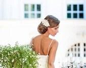 Bridal champagne lace hair accessory. Handmade bridal lace hair piece. Bridal fascinator. Gold lace hair piece. Wedding hair crown
