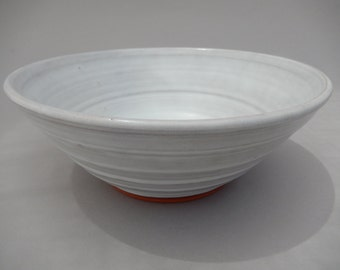 Pottery Serving Bowl - White Salad/ Fruit Bowl