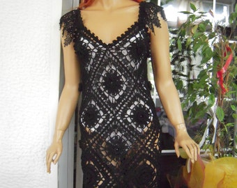 Crochet dress handmade asymmetrical black dress with tassels and laces/boho festival dress ready to ship gift idea for her by goldenyarn