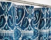 "IKAT Shower Curtain Navy & Aqua - Southwest - 72"" Wide x 72, 78, 84, 96 Long - Extra Long"