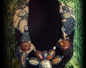 "OOAK Statement Bead Embroidered Necklace With Jasper Focal Stones, ""Artemis"""