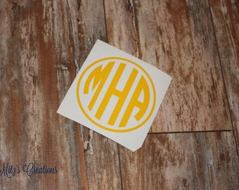 Circle Monogram Decal - Many Colors and Sizes Available - Pick Your Colors - Personalize to your liking!
