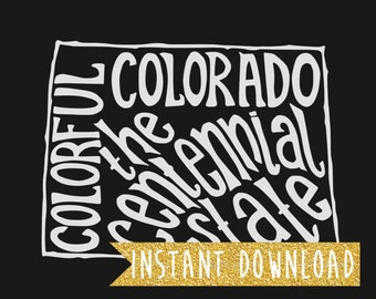 INSTANT DOWNLOAD - Colorful Colorado the Centennial State - 8x10 Illustrated Print by Mandy England