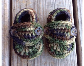 Camo Crocheted Baby Boy Button Loafer Booties Military Army Camouflage Newborn shower gift photo prop present green brown crib shoes base