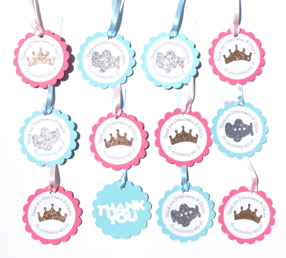Airplane Birthday Party Favor Tags: Princess & Pilot Themed Thank You Favor Tags, Birthday