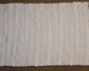 Handwoven Rag Rug - Fuzzy SOFT White Chenille and Terrycloth - 37 inches....(#108)