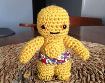 C-3PO Inspired Amigurumi doll- MADE to ORDER- Star Wars Inspired dolls