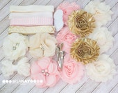 Golden Cream Blush DIY Headbands, Baby Shower Station Kit - Coordinating Elastic and Flowers to create hair bands and hair clips