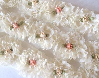 "Ivory Fancy Shabby Rose Trim with rossette & pearls  2.5"" Shabby chiffon Flowers applique YOU PICK Wholesale Rosette trim 6cm vintage trim"