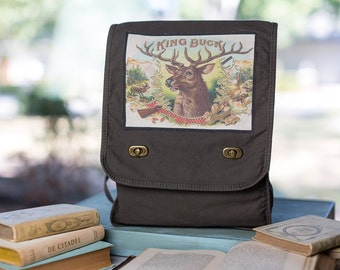Deer Antler Messenger Bag,  Cotton Canvas Khaki Green Field Bag, Laptop Bag
