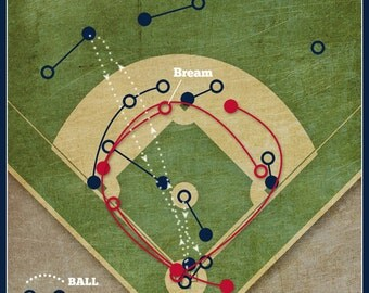 "Baseball Print ""Sid Bream's Slide"" Infographic Atlanta Braves Baseball Poster in lightly textured greys, blues, and reds"
