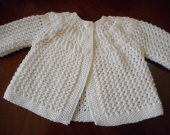 Baby Uni-sex Baby Matinee Jacket / Sweater in Pure Merino Quality Hand Knit Vintage Style 0 - 6 months