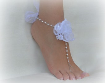 Beach wedding Barefoot Sandals, Jewelry Bridal Barefoot Sandals, barefoot shoes, chain barefoot sandals,  ankle bracelets, pearl sandals
