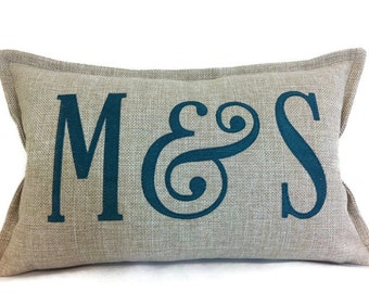 Cushion Cover - Pillow - Large Monogrammed -   Embroidered Pillow Cover - Wedding or Shower Gift