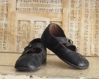Vintage Black Mary Jane Shoes Baby Toddler